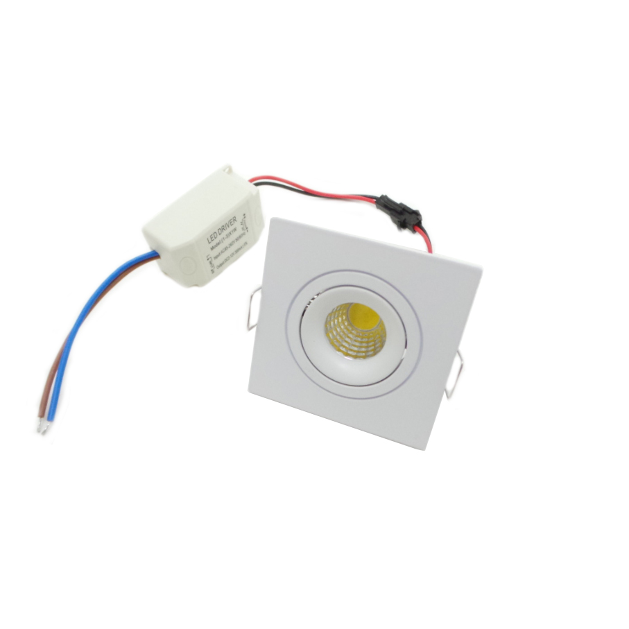 Faretto LED incasso quadrato 3W Cob faro led controsoffitto con alimentatore Led